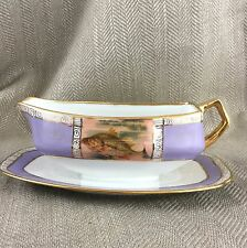 Art Deco Sauce Boat & Fixed Under Plate Hand Painted Beehive Mark Fish