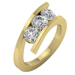 SI1 G 1.01 Ct Genuine Diamond Yellow Gold 3 Stone Ring Band Past Present Future