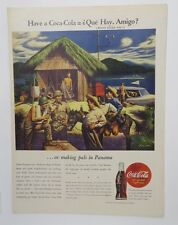 Original Print Ad 1944 COCA-COLA Have a Coke Que Hay Amigo Panama Vintage ARt