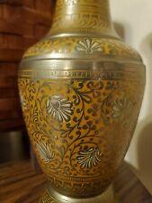 New listing Vintage Large Solid Brass Engraved Floral Design Vase 13� Tall orange color