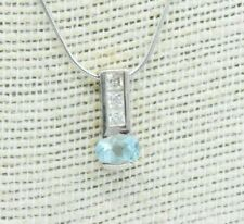Vintage Sterling Silver necklace Aquamarine pendant Art deco 16 inch Gift #W378