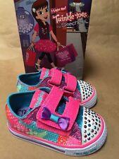 NEW Skechers Girls Twinkle Toes Shuffles 10834N Sz 5 Infant Neon Pink Bow Glittr