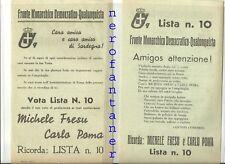 Fronte Monarchico Democratico-Qualunquista-Vota Fresu e Poma (SARDEGNA)1946