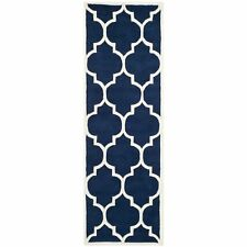 Safavieh Hand-Tufted Dark Blue/ Ivory Runner 2' 3 x 17'