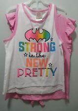NEW GIRLS BATGIRL SUPERGIRL T-SHIRT  COMBO STRONG NEW PRETTY GIRL POWER SIZE XL