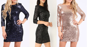 CHRISTMAS PARTY DRESS WOMENS LADIES V BACK SEQUINS BODYCON COCKTAIL CLUB WEAR