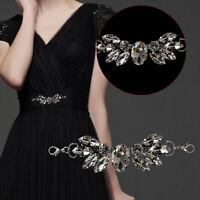 Silver Clear Crystal Rhinestone Diamante Motif Fashion Accessory DIY Patch Dress