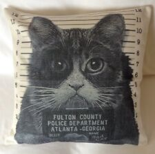 "Bad Cat Fulton County Police Department Cushion Cover- Cotton linen 17""x17"""