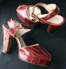 Vintage Alligator Peep Toe Platform Shoes 40s sz 6.5