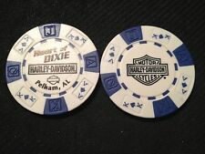 "Harley Davidson Poker Chip (White & Blue BLACK) ""Heart of Dixie"" Pelham, AL"