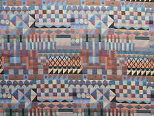 ST D30 AZTEC SQUARES DESIGN TAPESTRY BLUE ORANGE CURTAIN BLINDS CUSHION FABRIC