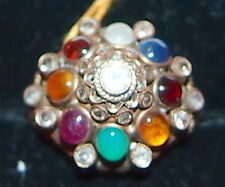 RING MULTI COLOR STONE & 18 KARAT SOLID GOLD ENGLISH RARE DETAILS.SIZE;6.25