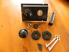 "Black Rim Lock 6"" x 4"" with matching Rim Knob set with 2 Keys and fixings NEW"