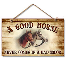 Western Lodge Cabin Decor ~A Good Horse~  Wood Sign W/ Rope Cord