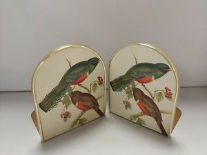 Vintage Style Brass & Ceramic Bookends Song Bird Detail D31
