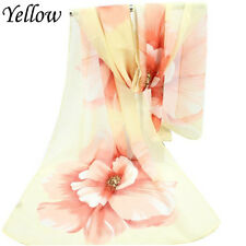Fashion Women Flower Scarf Wrap Summer Shawl Chiffon Neck Circle Voile Scarves Yellow