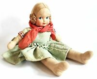 """Vintage 13"""" Stuffed Cloth Doll with Mask Face and Coiled Braided Hair,"""