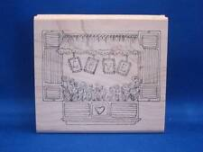 Lockhart Stamp Co. LOVE Window Rubber Stamp 2010 Heart Flowers Valentine's Day