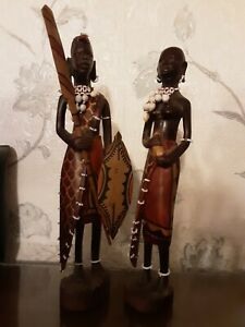 Vintage Hand Carved African Man And Woman With Bead Detail