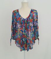 LC LAUREN CONRAD Ladies Floral Print SHEER Boho 3/4 Sleeve Top-Blouse Sz.Medium