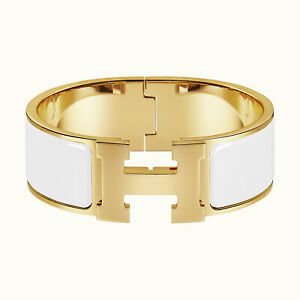 HERMES White and Gold Clic Clac H Bracelet  GM Enamel Wide - 7″ Circumference