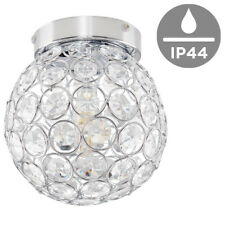 Modern Round Bathroom Ceiling Light Fitting Silver Chrome Clear Acrylic Jewels