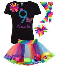 Bubblegum Divas 9th Birthday Girl Butterfly T Shirt Rainbow Nine Personalized 9