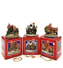 David Winter Cottages Lot Of 3 Christmas Ornaments Tomfool Scrooge Will-O-The