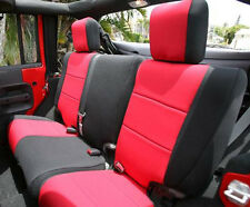 Jeep Wrangler 2007-14 JK Unlimited neoprene rear 60/40 split seat cover Red 4dRr