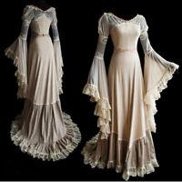 Women Vintage Medieval Maxi Long Dress Renaissance Cosplay Bodice Princess Dress