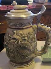 """Avon Ducks of American Wilderness Collectible Stein With Duck on Lid 8 3/4"""" 1988"""