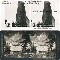 5 Stereoviews von Frankreich, France ca. ab 1900, Mont Blanc, Hotel Montanvert