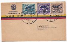 Ecuador Old FDC Airmail Cover with Primero La Patria Overprints 1947