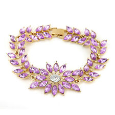 Violet Flower Link Chain Bracelets Tennis Cheap Charm Jewelry Crystal Costume