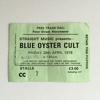 Blue Oyster Cult - 28/04/1978 Free Trade Hall Manchester concert Ticket Stub