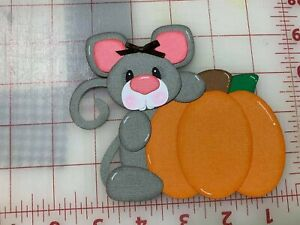 Girl Mouse with pumpkin scrapbook premade paper piecing