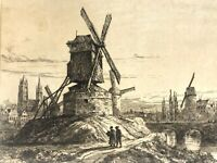 Antique Engraving Windmill Rural Scenery on Sepia toned rag paper Initialed