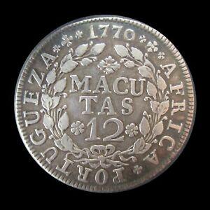 PORTUGUESE ANGOLA 12 MACUTAS 1770 SILVER RULER JOSÉ I KM 18 #5092#
