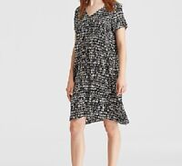 Eileen Fisher Woman 1X Dress Black White Pebble Seraglio  Silk Print $258   NWT