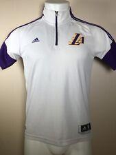 Los Angeles Lakers Adidas White Quarter Zip Polo Training Logo Shirt Youth Large