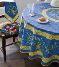 French Provincial Tablecloth - 180 Round Coated Cotton - Cigale Bleu
