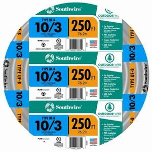 Southwire Outdoor Electrical Wire 250 ft. 10/3 Gray Solid CU UF-B W/G Copper