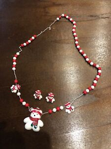 EXTREMELY RARE!! Vintage! Santabear Daytons 1986 Bear Necklace Earring Jewelry