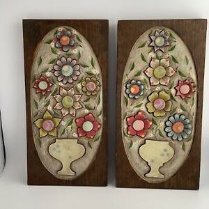 Vintage 70s Lot 2 Carved Wood Floral 3D Wall Hanging Plaque Boho Cottagecore Art