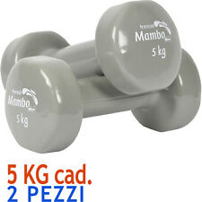 Msd 2 MANUBRI 5 Kg cad VINILE LAVABILE GRIGIO peso tot. 10 Kg Pesi Sport Braccia