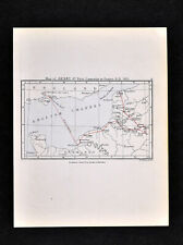 1892 Map of Henry V Campaign in France 1415 England Channel Chef de Caux Calais