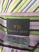 Thomas Dean Men's XXL Long Sleeve Flip Cuff Striped Button Up Shirt Purple