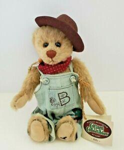 """Vtg Ganz Cottage Collectibles Artist Teddy Bear Billy Boy Plush Overalls Hat 10"""""""