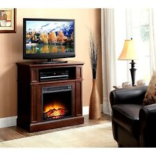 """Wood Media TV Stand Console with Fireplace 31"""" Media Fireplace for TVs up to 42"""""""
