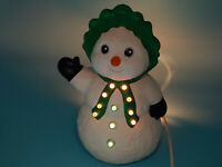 """Vintage 1991 Holland Mold Ceramic Christmas Snowman ~ 11"""" H w/all light inserts"""